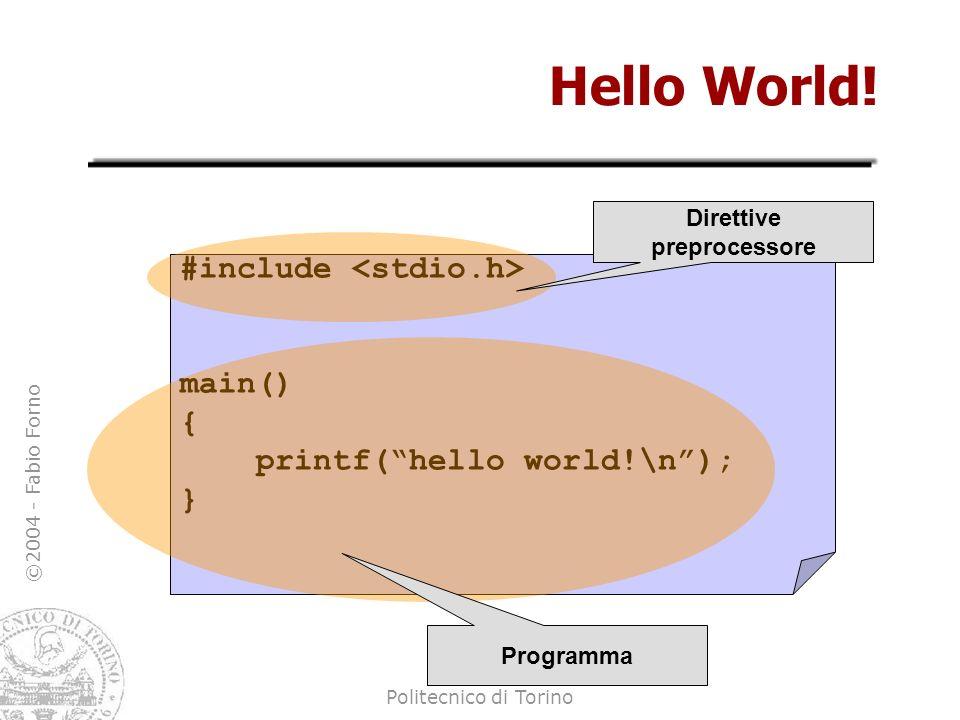 ©2004 - Fabio Forno Politecnico di Torino Hello World! #include main() { printf(hello world!\n); } Direttive preprocessore Programma