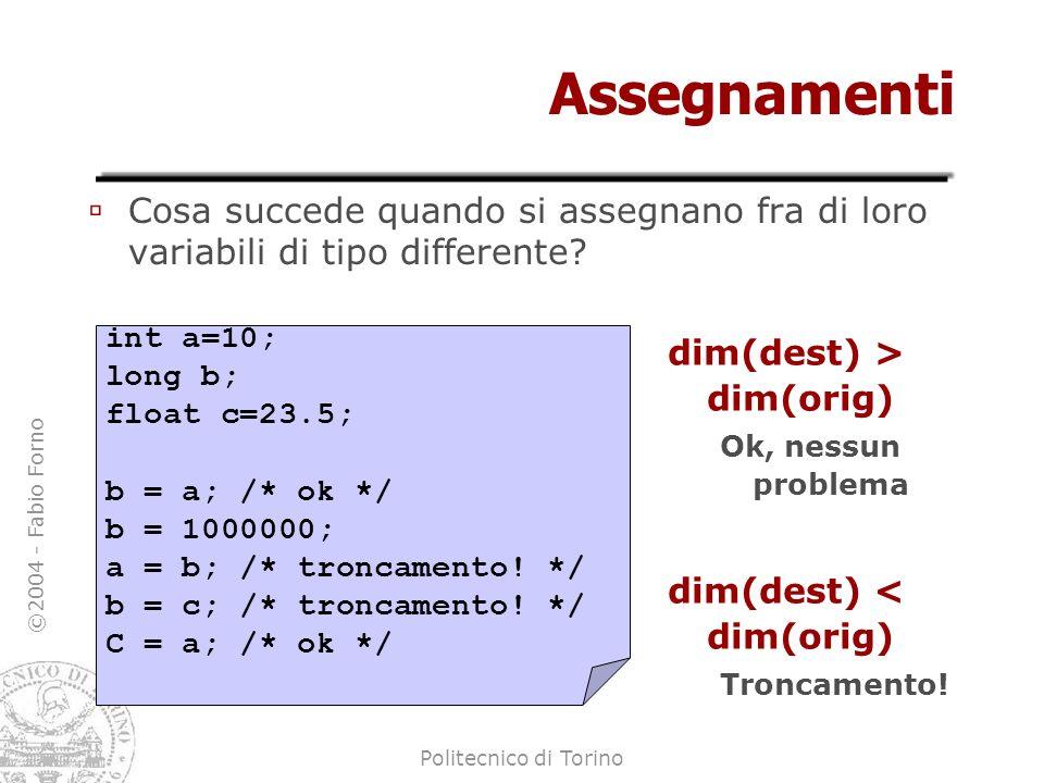 ©2004 - Fabio Forno Politecnico di Torino Assegnamenti Cosa succede quando si assegnano fra di loro variabili di tipo differente? dim(dest) > dim(orig
