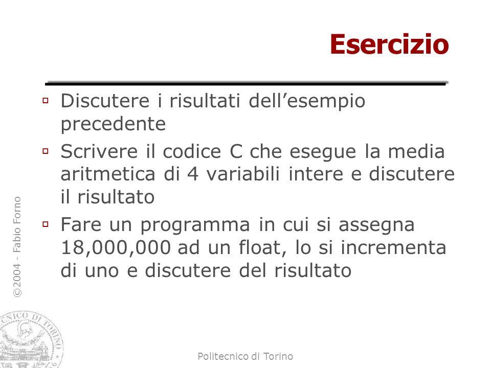 ©2004 - Fabio Forno Politecnico di Torino Esercizio Discutere i risultati dellesempio precedente Scrivere il codice C che esegue la media aritmetica d