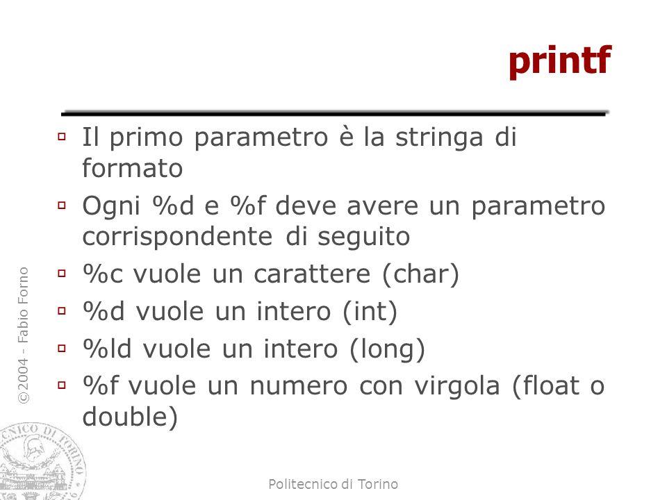 ©2004 - Fabio Forno Politecnico di Torino printf Il primo parametro è la stringa di formato Ogni %d e %f deve avere un parametro corrispondente di seg