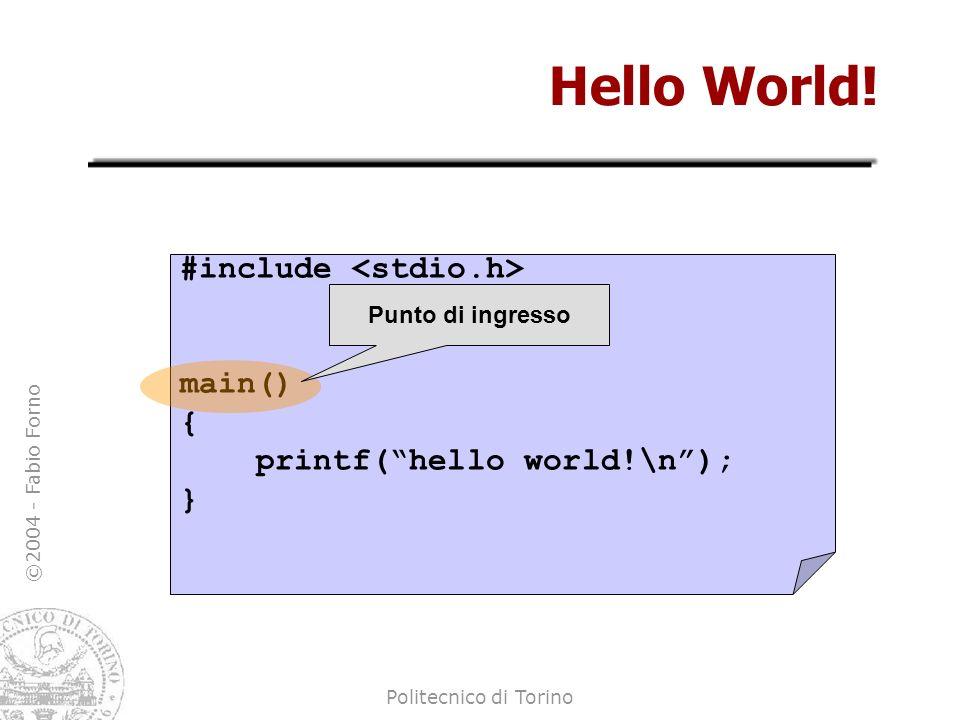 ©2004 - Fabio Forno Politecnico di Torino Hello World! #include main() { printf(hello world!\n); } Punto di ingresso