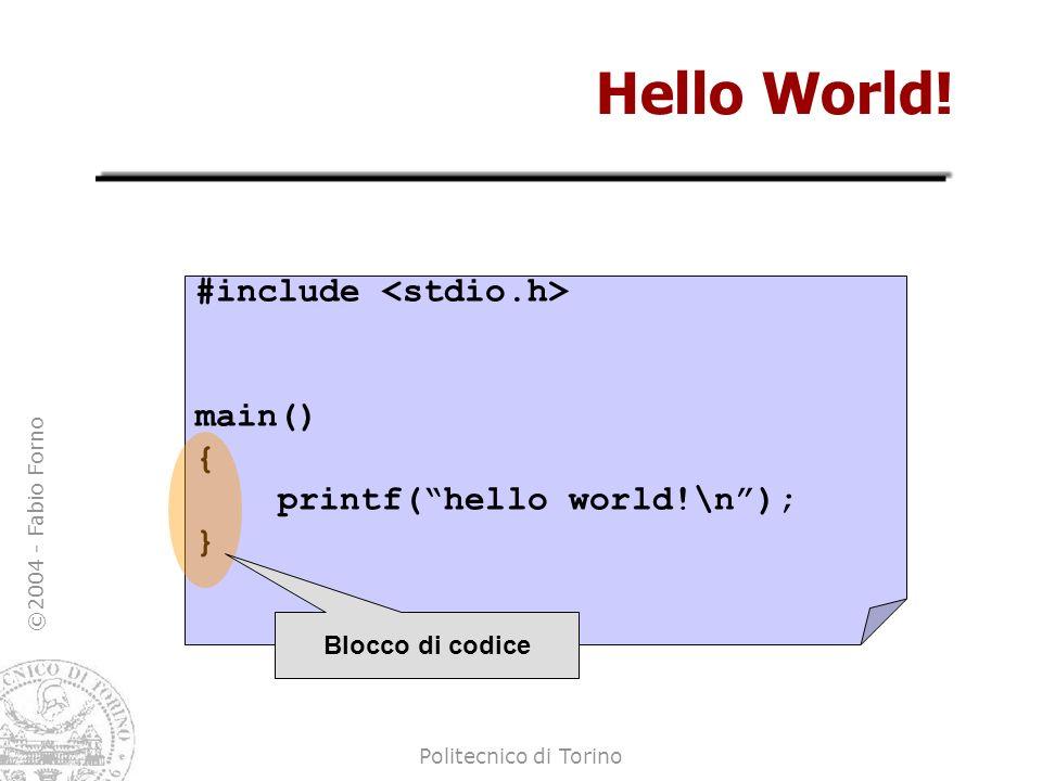 ©2004 - Fabio Forno Politecnico di Torino Hello World! #include main() { printf(hello world!\n); } Blocco di codice