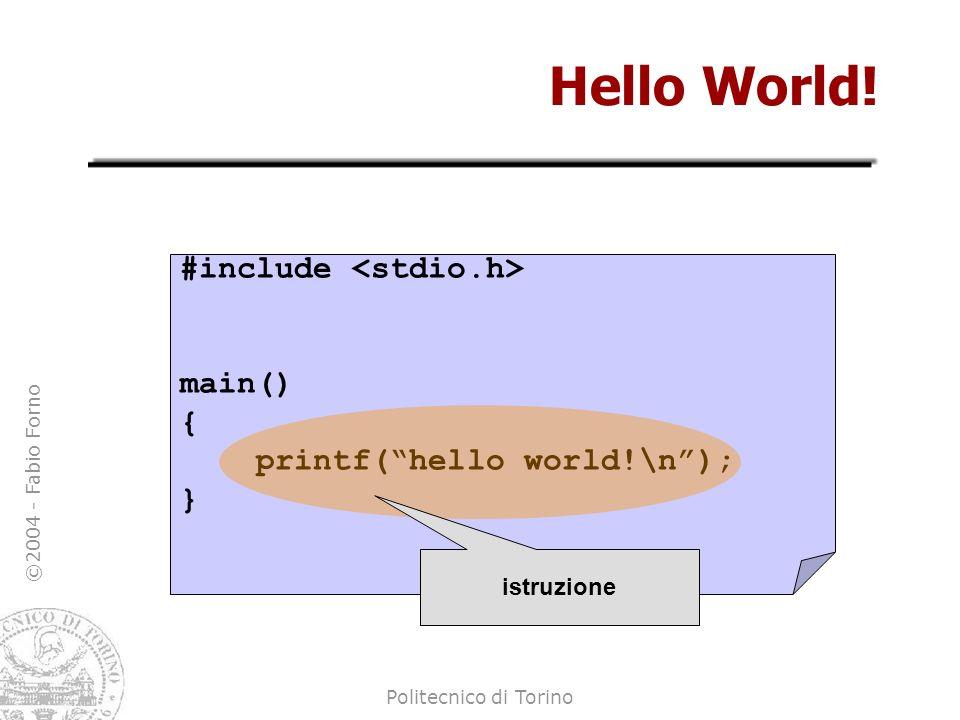 ©2004 - Fabio Forno Politecnico di Torino Hello World! #include main() { printf(hello world!\n); } istruzione