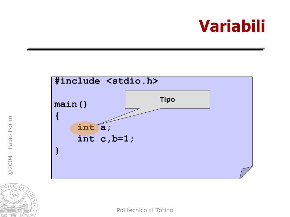 ©2004 - Fabio Forno Politecnico di Torino Espressioni ed assegnamenti main() { int a,b,c; a = 10; b = a+1; c = a*(b-10); c = b/a; c = a/b; } Espressione aritmetica