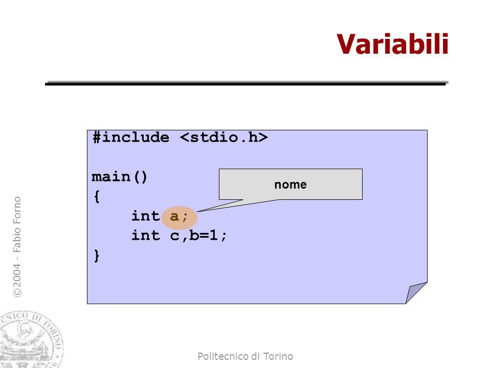©2004 - Fabio Forno Politecnico di Torino Variabili #include main() { int a; int c,b=1; } inizializzazione