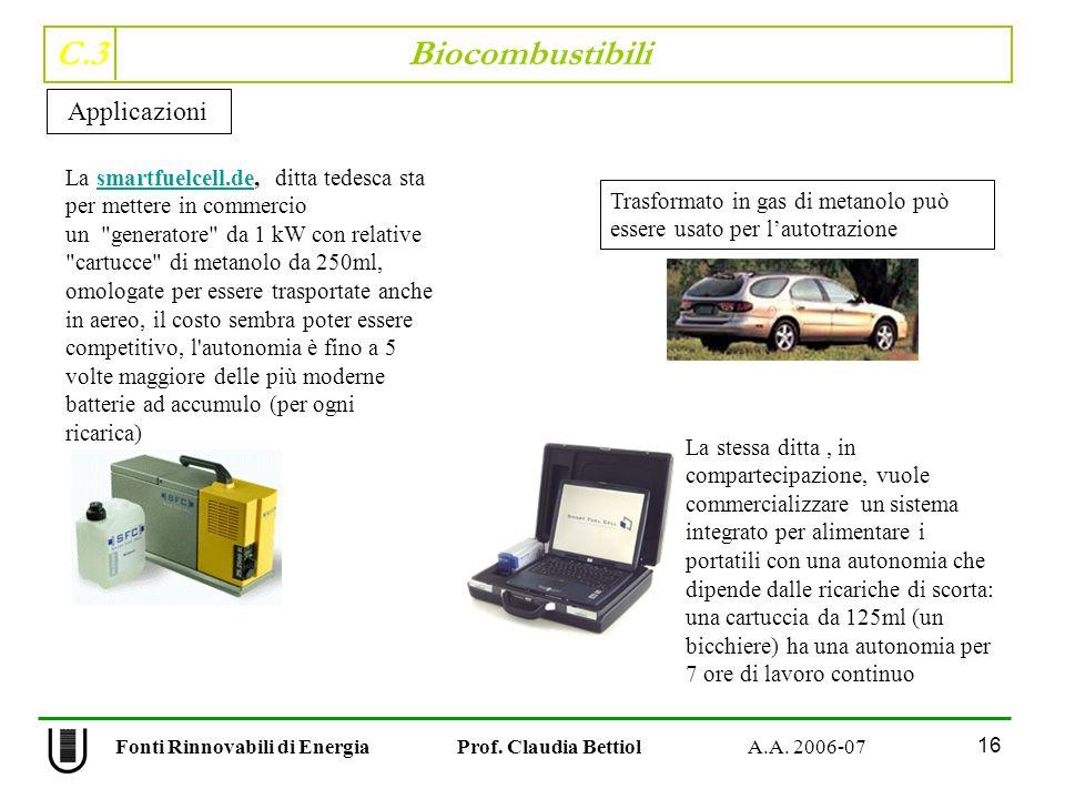 C.3 Biocombustibili 16 Fonti Rinnovabili di Energia Prof. Claudia Bettiol A.A. 2006-07 Applicazioni La smartfuelcell.de, ditta tedesca sta per mettere