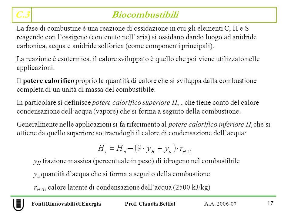 C.3 Biocombustibili 17 Fonti Rinnovabili di Energia Prof. Claudia Bettiol A.A. 2006-07 La fase di combustine è una reazione di ossidazione in cui gli