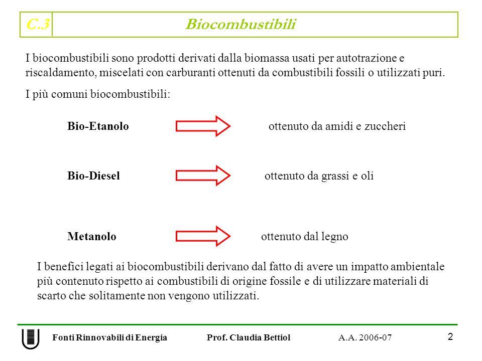 C.3 Biocombustibili 2 Fonti Rinnovabili di Energia Prof. Claudia Bettiol A.A. 2006-07 I biocombustibili sono prodotti derivati dalla biomassa usati pe