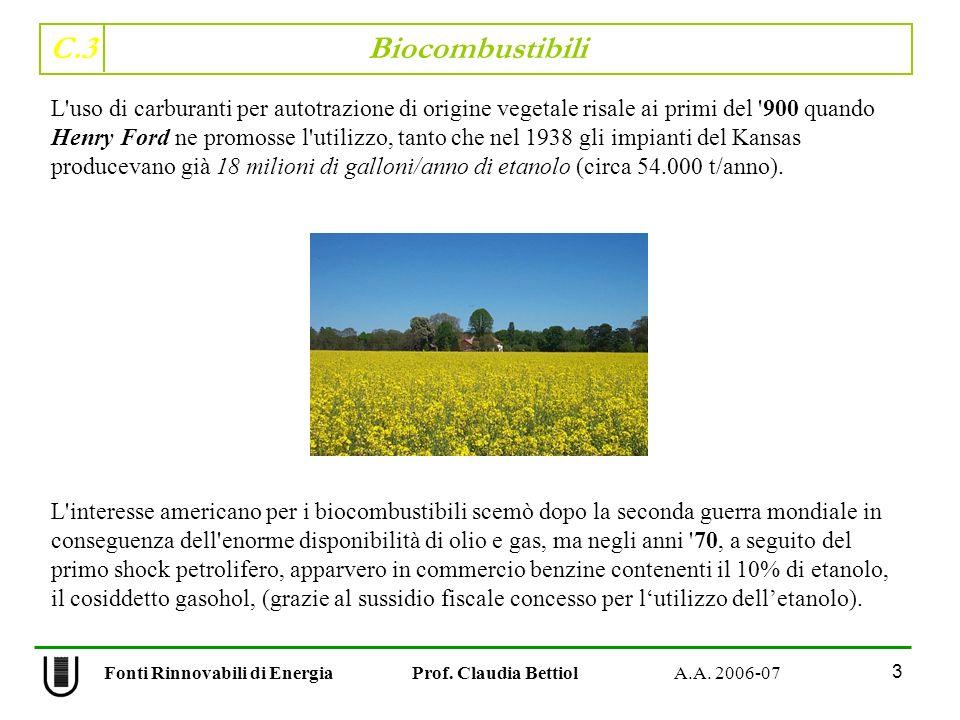 C.3 Biocombustibili 3 Fonti Rinnovabili di Energia Prof. Claudia Bettiol A.A. 2006-07 L'uso di carburanti per autotrazione di origine vegetale risale