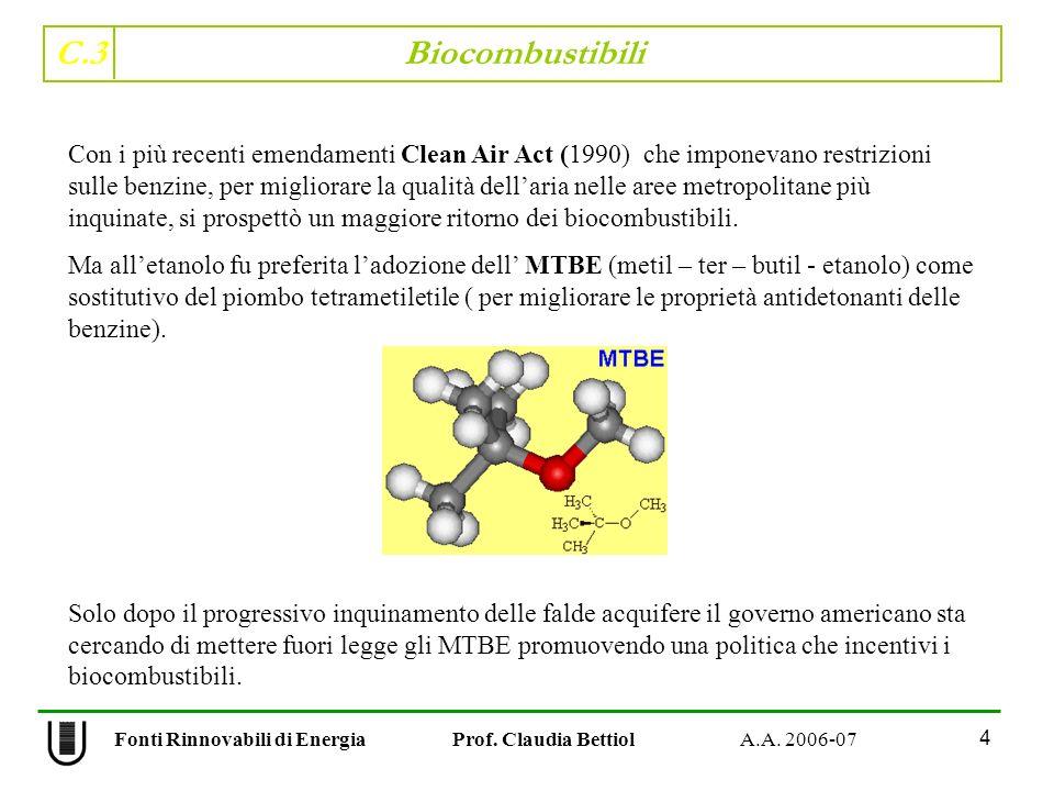C.3 Biocombustibili 4 Fonti Rinnovabili di Energia Prof. Claudia Bettiol A.A. 2006-07 Con i più recenti emendamenti Clean Air Act (1990) che imponevan