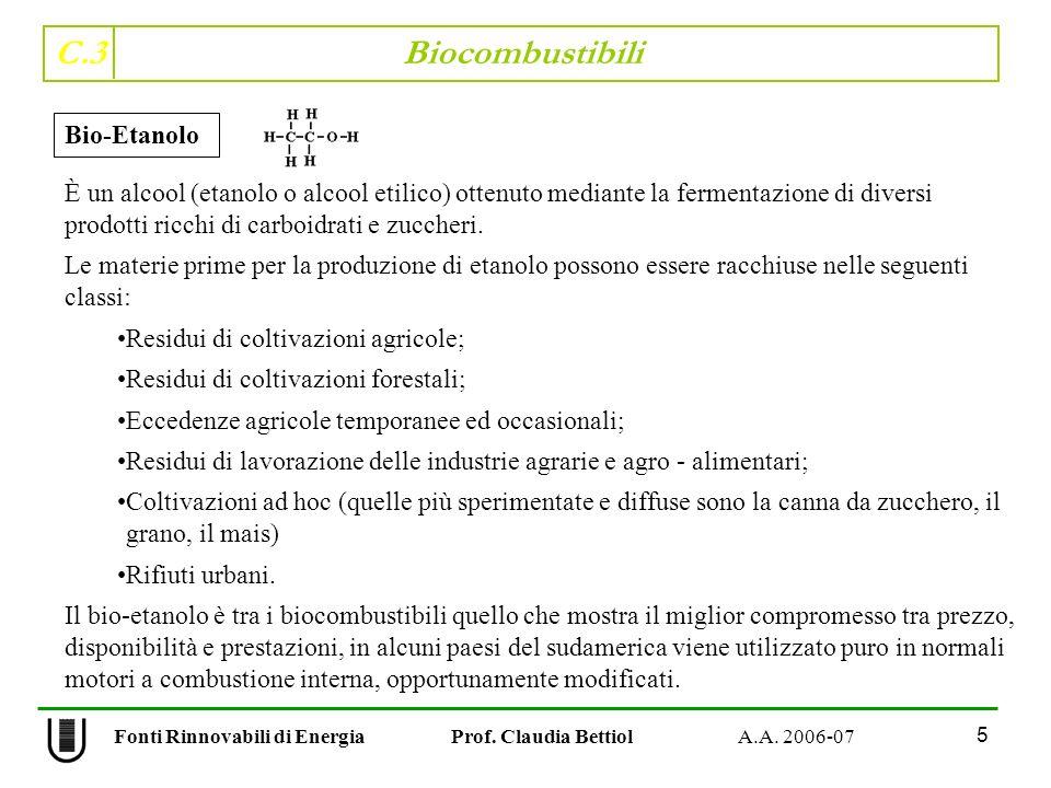 C.3 Biocombustibili 6 Fonti Rinnovabili di Energia Prof.