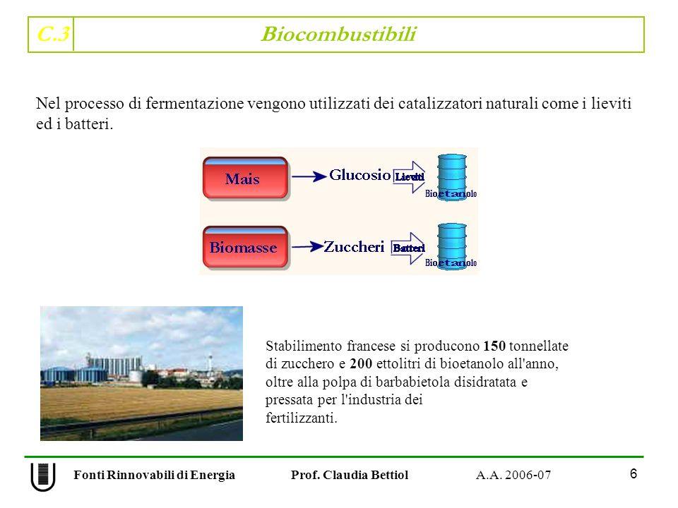 C.3 Biocombustibili 6 Fonti Rinnovabili di Energia Prof. Claudia Bettiol A.A. 2006-07 Nel processo di fermentazione vengono utilizzati dei catalizzato