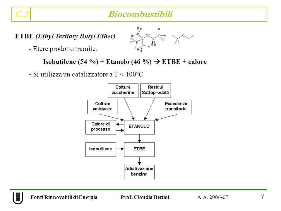 C.3 Biocombustibili 7 Fonti Rinnovabili di Energia Prof. Claudia Bettiol A.A. 2006-07 ETBE (Ethyl Tertiary Butyl Ether) - Etere prodotto tramite: Isob