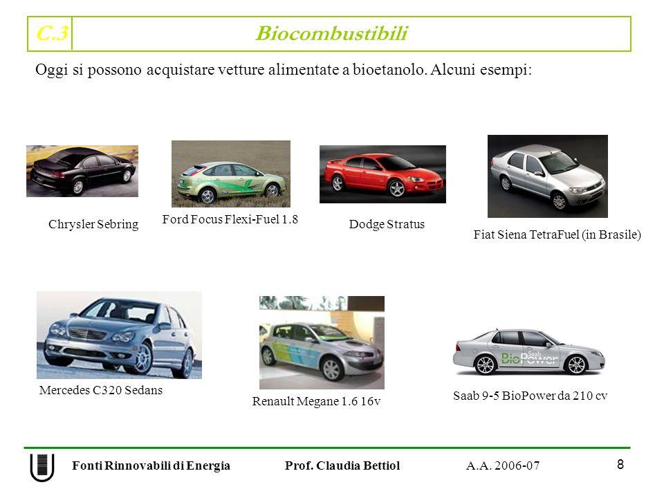 C.3 Biocombustibili 8 Fonti Rinnovabili di Energia Prof. Claudia Bettiol A.A. 2006-07 Oggi si possono acquistare vetture alimentate a bioetanolo. Alcu
