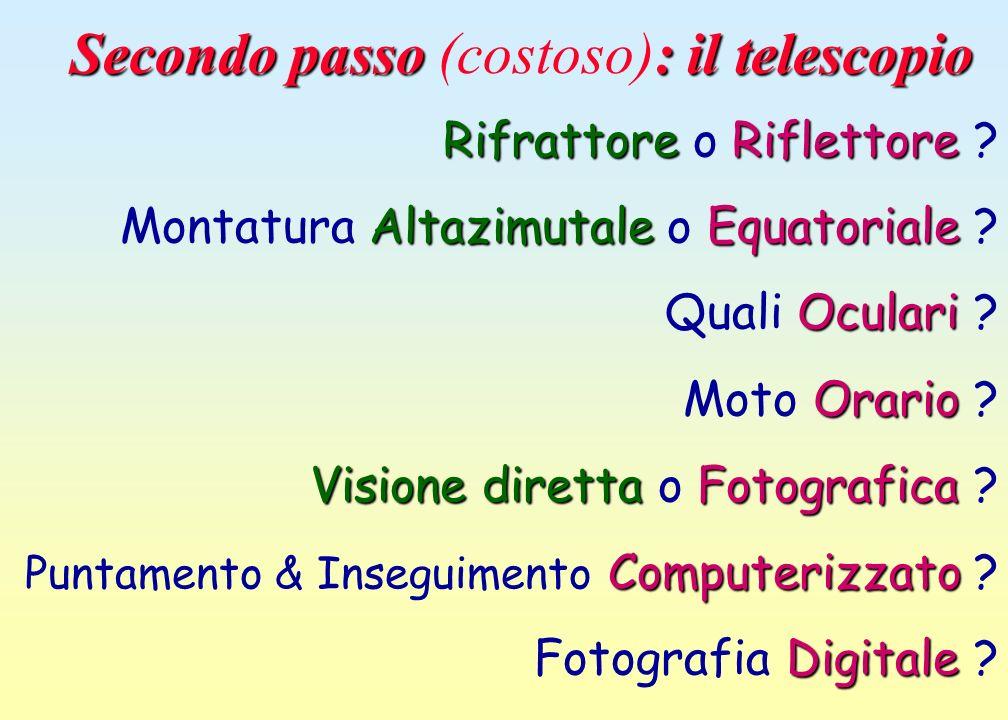 Secondo passo : il telescopio Secondo passo (costoso): il telescopio Rifrattore o R RR Riflettore ? Montatura A AA Altazimutale o E EE Equatoriale ? Q