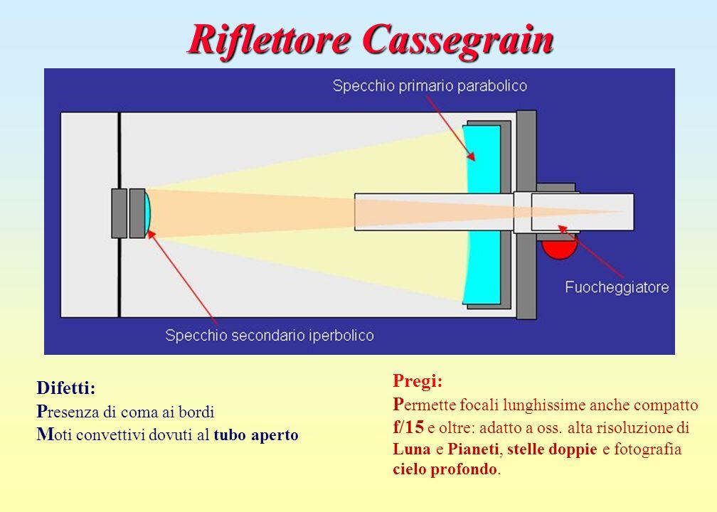 Riflettore Cassegrain Pregi: P ermette focali lunghissime anche compatto f/15 e oltre: adatto a oss. alta risoluzione di Luna e Pianeti, stelle doppie