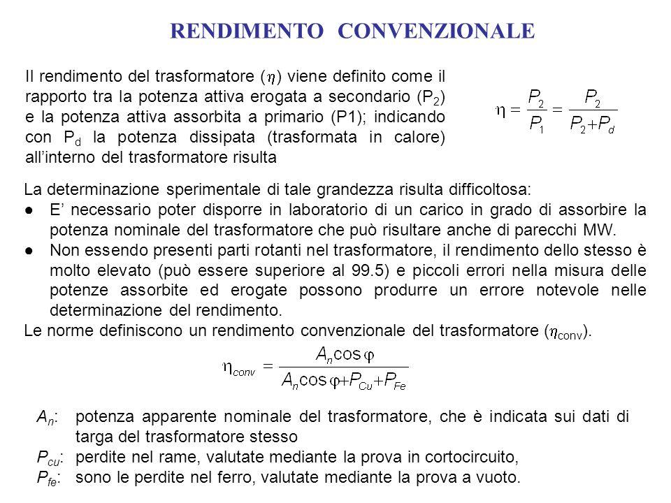 RENDIMENTO CONVENZIONALE Il rendimento del trasformatore ( ) viene definito come il rapporto tra la potenza attiva erogata a secondario (P 2 ) e la po