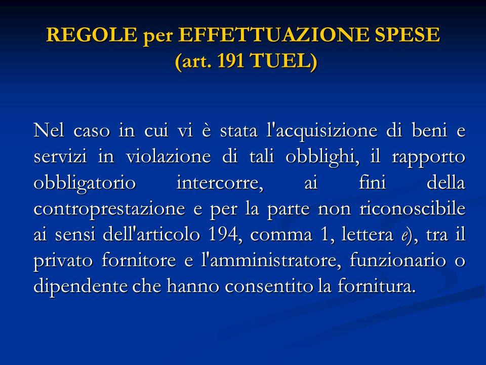 REGOLE per EFFETTUAZIONE SPESE (art. 191 TUEL) Nel caso in cui vi è stata l'acquisizione di beni e servizi in violazione di tali obblighi, il rapporto