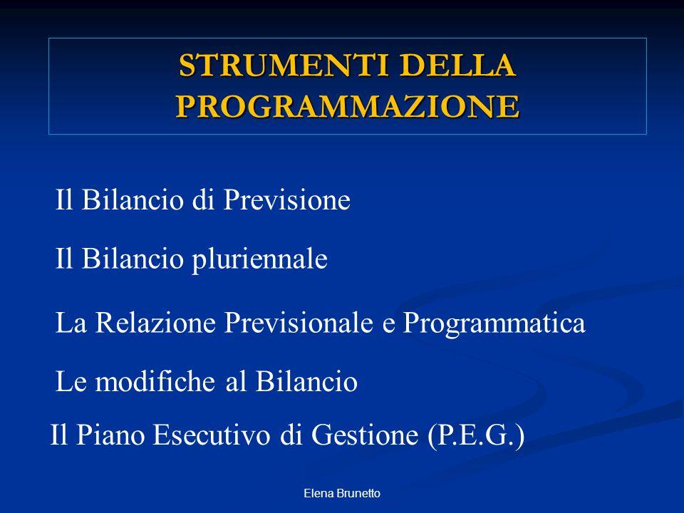 Il Bilancio pluriennale La Relazione Previsionale e Programmatica Le modifiche al Bilancio Il Piano Esecutivo di Gestione (P.E.G.) Il Bilancio di Prev