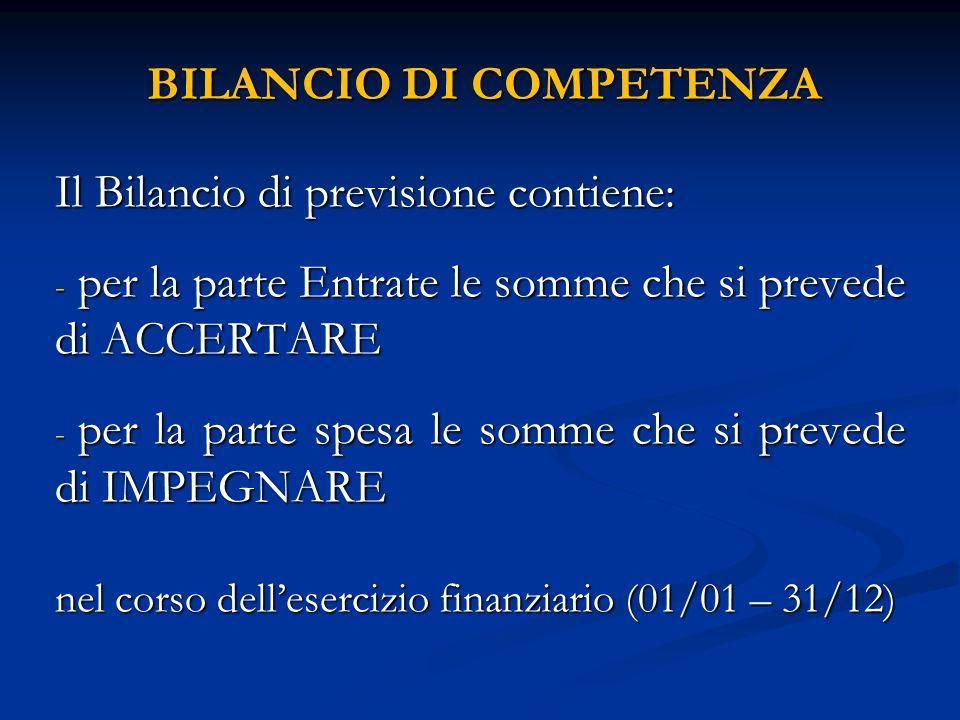 BILANCIO DI COMPETENZA Il Bilancio di previsione contiene: - per la parte Entrate le somme che si prevede di ACCERTARE - per la parte spesa le somme c