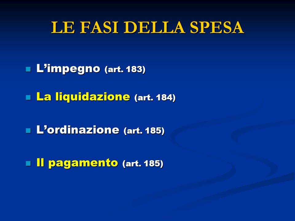 LE FASI DELLA SPESA Limpegno (art. 183) Limpegno (art. 183) La liquidazione (art. 184) La liquidazione (art. 184) Lordinazione (art. 185) Lordinazione
