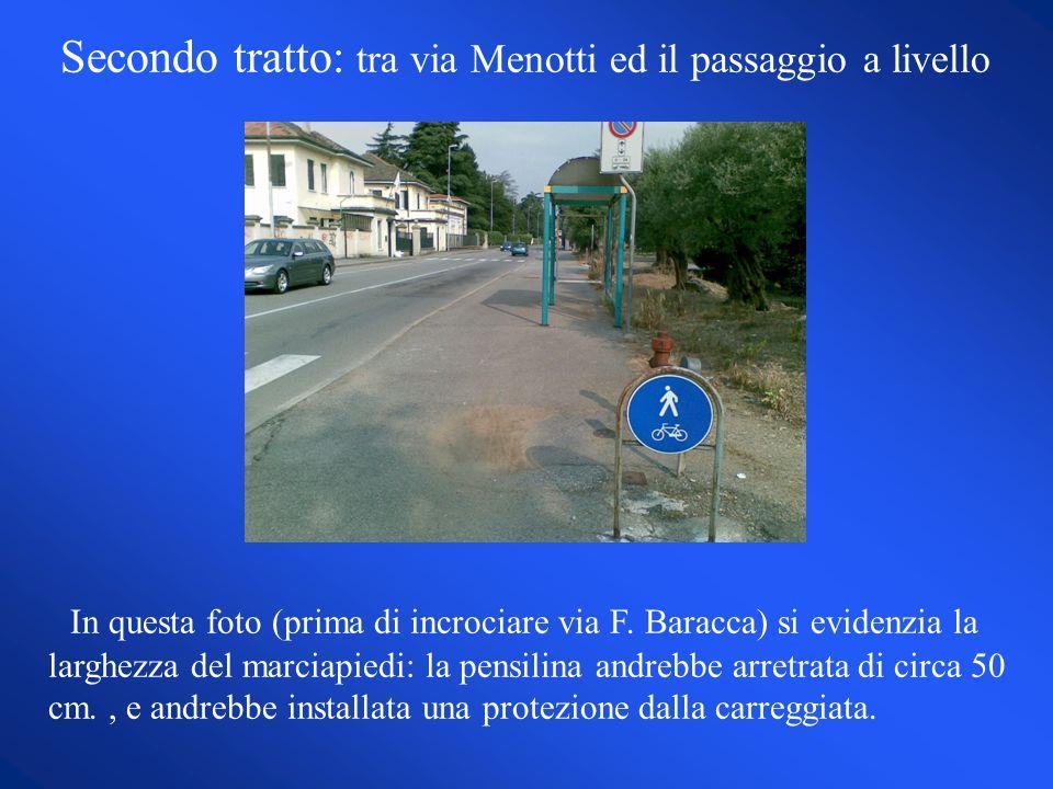 Secondo tratto: tra via Menotti ed il passaggio a livello In questa foto (prima di incrociare via F.
