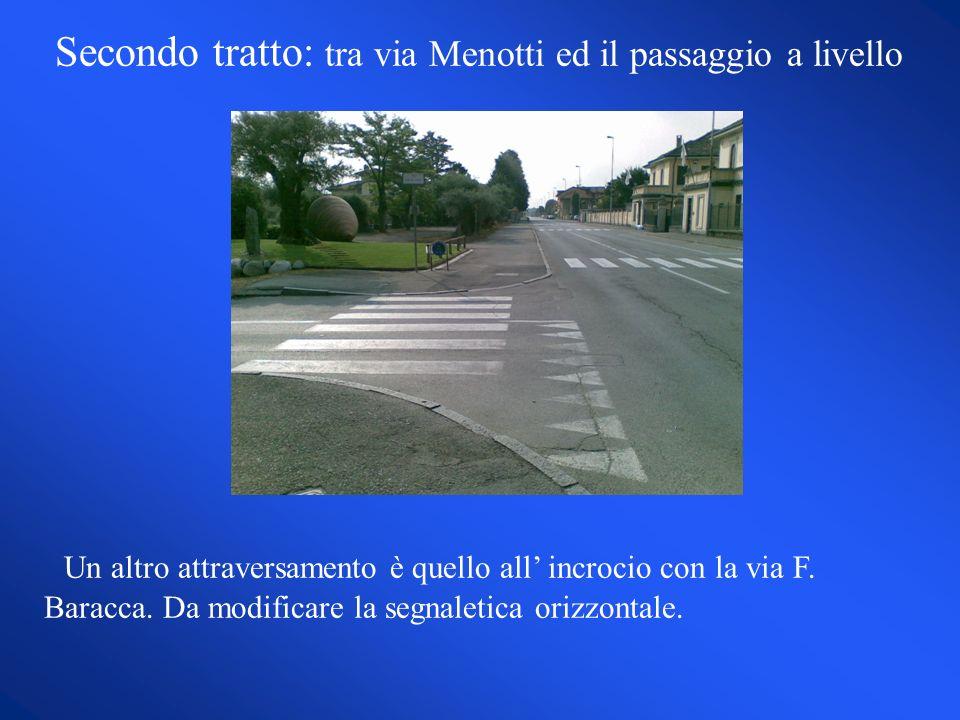 Secondo tratto: tra via Menotti ed il passaggio a livello Un altro attraversamento è quello all incrocio con la via F.