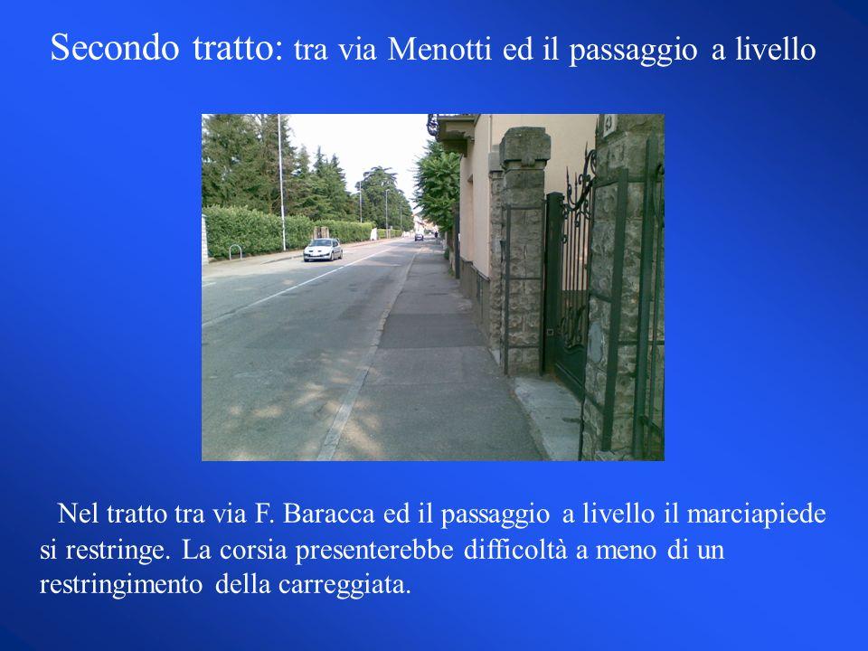 Secondo tratto: tra via Menotti ed il passaggio a livello Nel tratto tra via F.