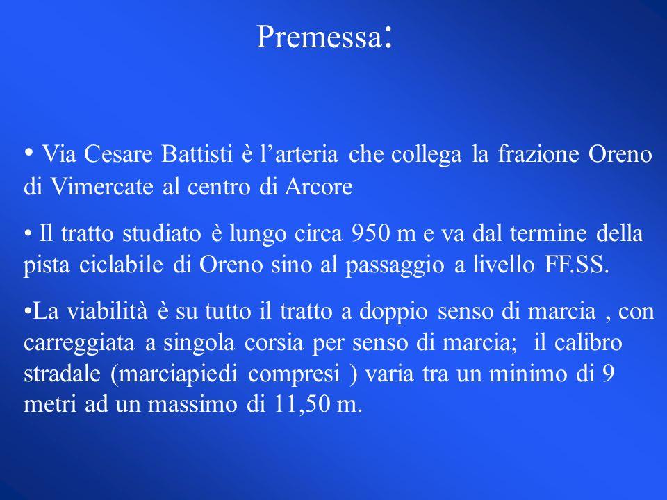 Premessa : Via Cesare Battisti è larteria che collega la frazione Oreno di Vimercate al centro di Arcore Il tratto studiato è lungo circa 950 m e va dal termine della pista ciclabile di Oreno sino al passaggio a livello FF.SS.