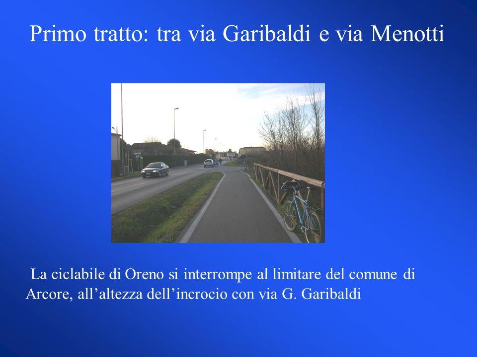 La ciclabile di Oreno si interrompe al limitare del comune di Arcore, allaltezza dellincrocio con via G.