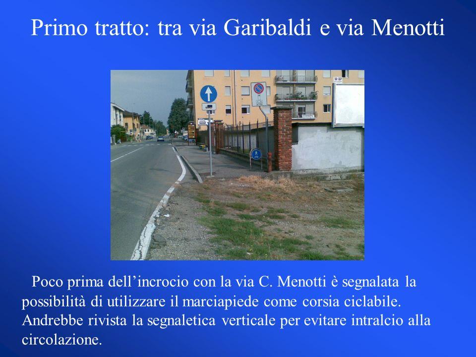 Primo tratto: tra via Garibaldi e via Menotti Poco prima dellincrocio con la via C.