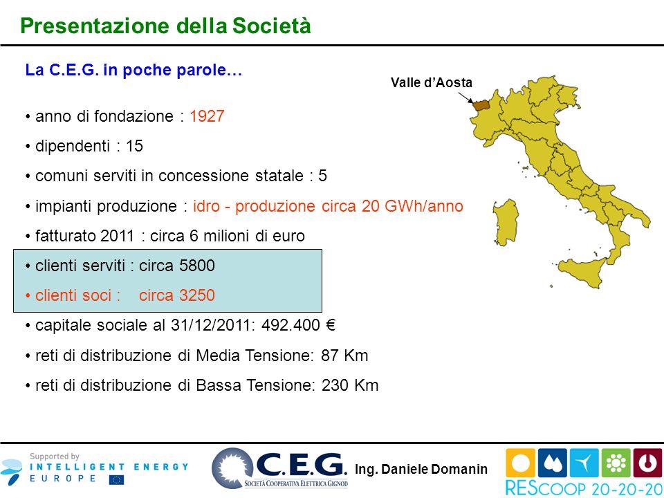 Presentazione della Società Valle dAosta La C.E.G. in poche parole… anno di fondazione : 1927 dipendenti : 15 comuni serviti in concessione statale :