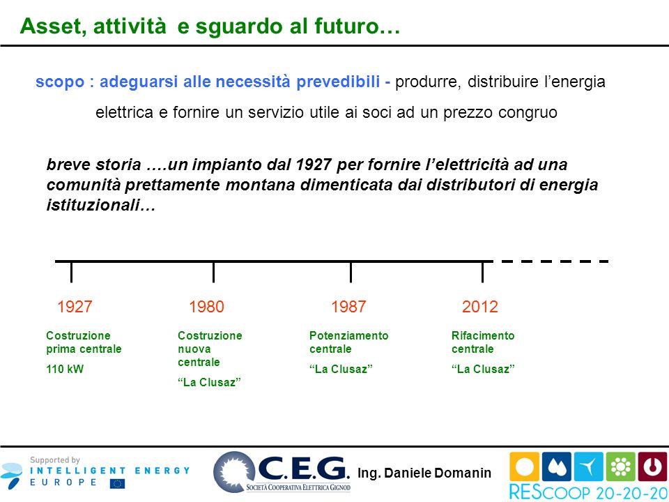 Ing. Daniele Domanin Asset, attività e sguardo al futuro… scopo : adeguarsi alle necessità prevedibili - produrre, distribuire lenergia elettrica e fo