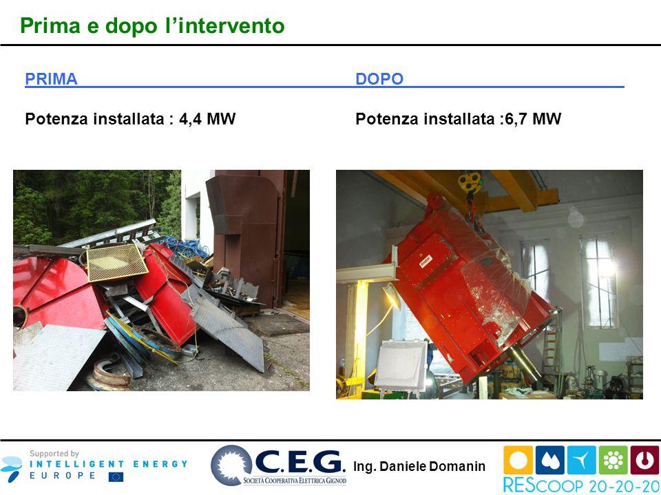 Ing. Daniele Domanin Prima e dopo lintervento PRIMADOPO Potenza installata : 4,4 MWPotenza installata :6,7 MW