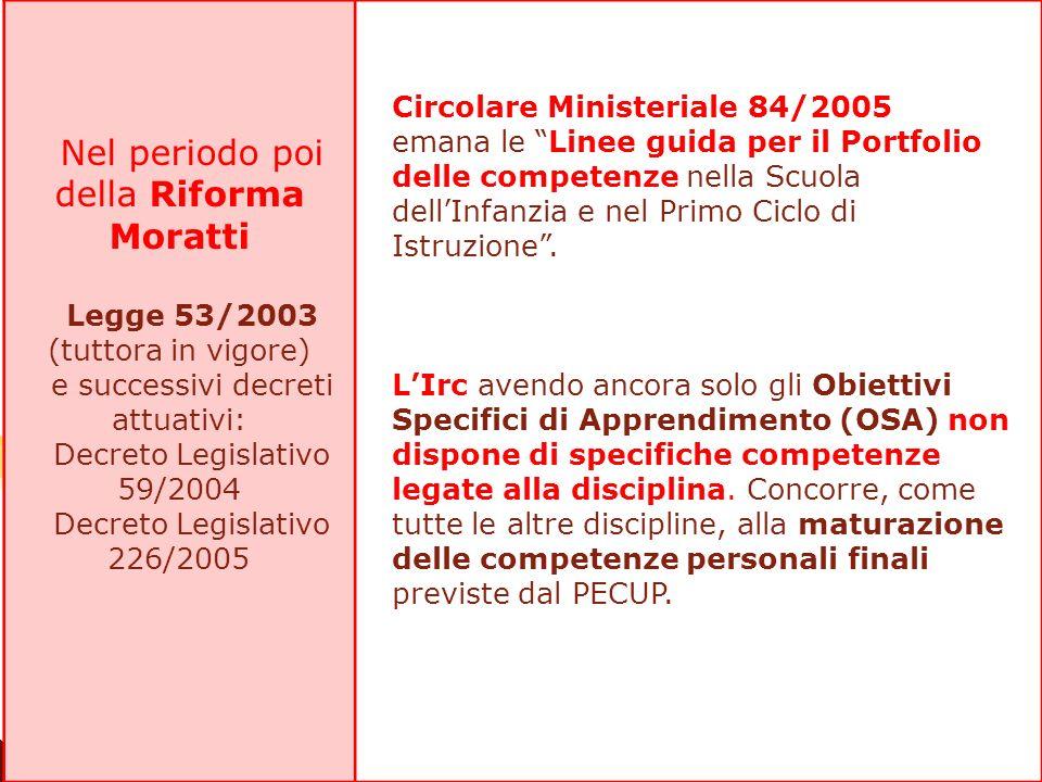 Nel periodo poi della Riforma Moratti Legge 53/2003 (tuttora in vigore) e successivi decreti attuativi: Decreto Legislativo 59/2004 Decreto Legislativ