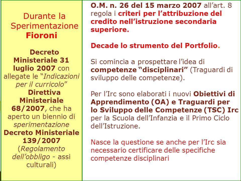 Durante la Sperimentazione Fioroni Decreto Ministeriale 31 luglio 2007 con allegate le Indicazioni per il curricolo Direttiva Ministeriale 68/2007, ch