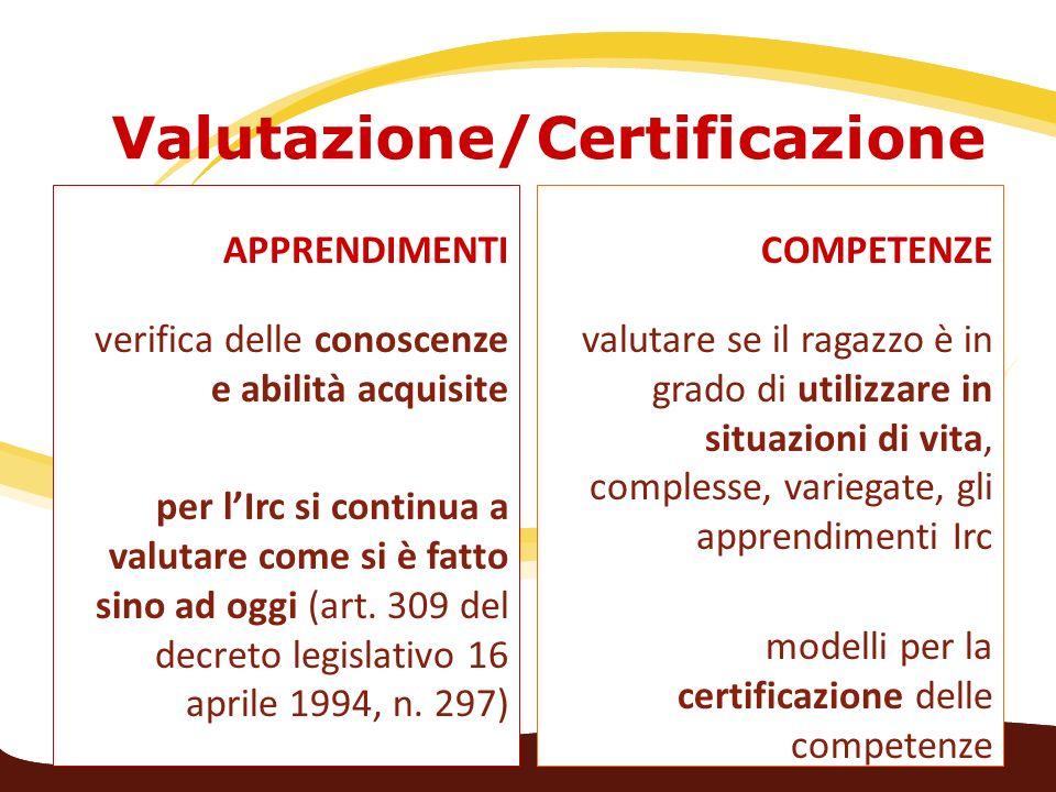 Valutazione/Certificazione APPRENDIMENTI verifica delle conoscenze e abilità acquisite per lIrc si continua a valutare come si è fatto sino ad oggi (a