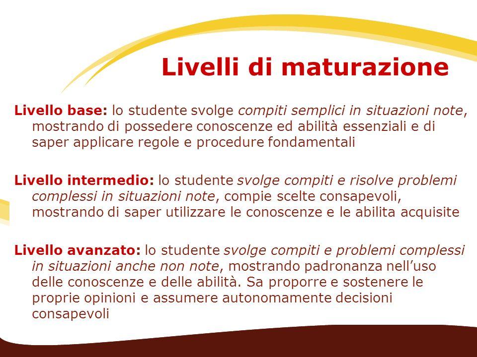 Livelli di maturazione Livello base: lo studente svolge compiti semplici in situazioni note, mostrando di possedere conoscenze ed abilità essenziali e