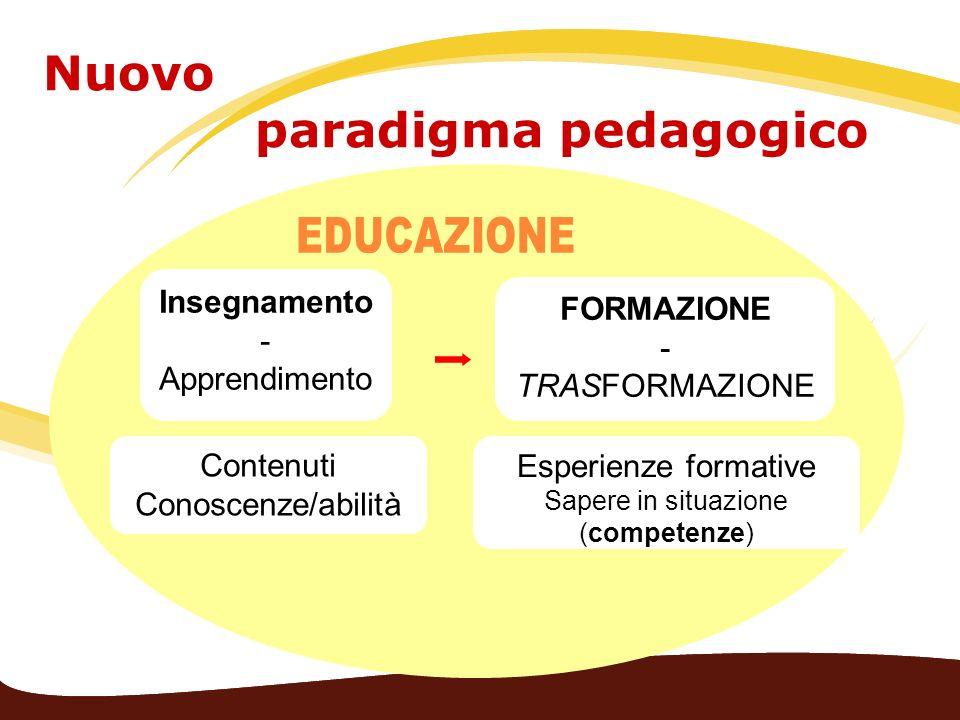 Insegnamento - Apprendimento FORMAZIONE - TRASFORMAZIONE Contenuti Conoscenze/abilità Esperienze formative Sapere in situazione (competenze) Nuovo par