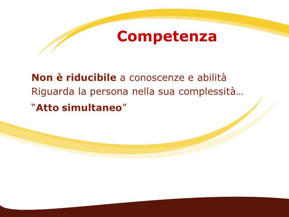 Competenza Non è riducibile a conoscenze e abilità Riguarda la persona nella sua complessità… Atto simultaneo