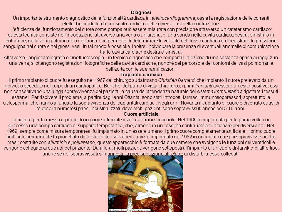Diagnosi Un importante strumento diagnostico della funzionalità cardiaca è l'elettrocardiogramma, ossia la registrazione delle correnti elettriche pro