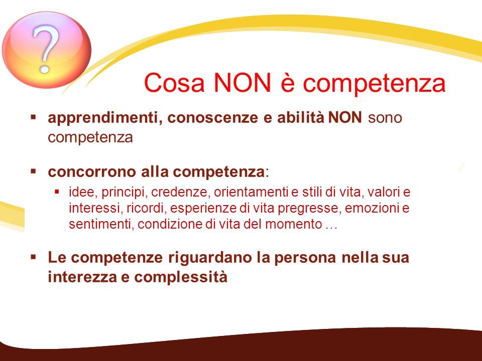 Cosa NON è competenza apprendimenti, conoscenze e abilità NON sono competenza concorrono alla competenza: idee, principi, credenze, orientamenti e sti