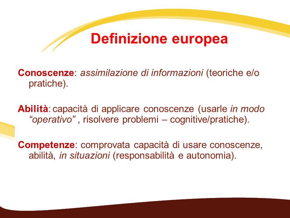 Definizione europea Conoscenze: assimilazione di informazioni (teoriche e/o pratiche). Abilità: capacità di applicare conoscenze (usarle in modo opera