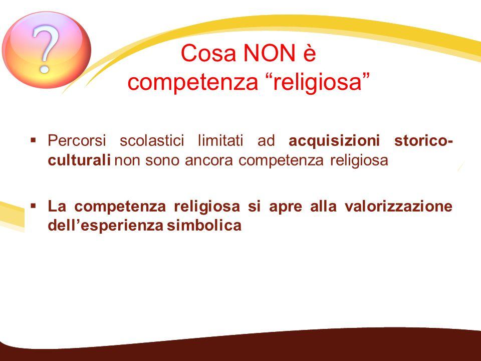 Cosa NON è competenza religiosa Percorsi scolastici limitati ad acquisizioni storico- culturali non sono ancora competenza religiosa La competenza rel
