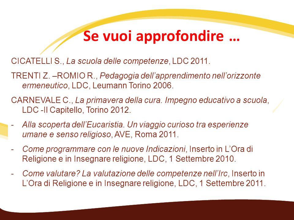 Se vuoi approfondire … al valore dellaccoglienza… CICATELLI S., La scuola delle competenze, LDC 2011. TRENTI Z. –ROMIO R., Pedagogia dellapprendimento