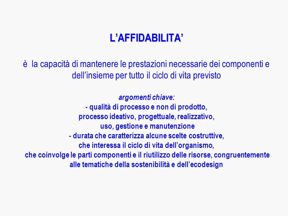 LAFFIDABILITA LAFFIDABILITA è la capacità di mantenere le prestazioni necessarie dei componenti e dellinsieme per tutto il ciclo di vita previsto argomenti chiave: - qualità di processo e non di prodotto, processo ideativo, progettuale, realizzativo, uso, gestione e manutenzione - durata che caratterizza alcune scelte costruttive, che interessa il ciclo di vita dellorganismo, che coinvolge le parti componenti e il riutilizzo delle risorse, congruentemente alle tematiche della sostenibilità e dellecodesign