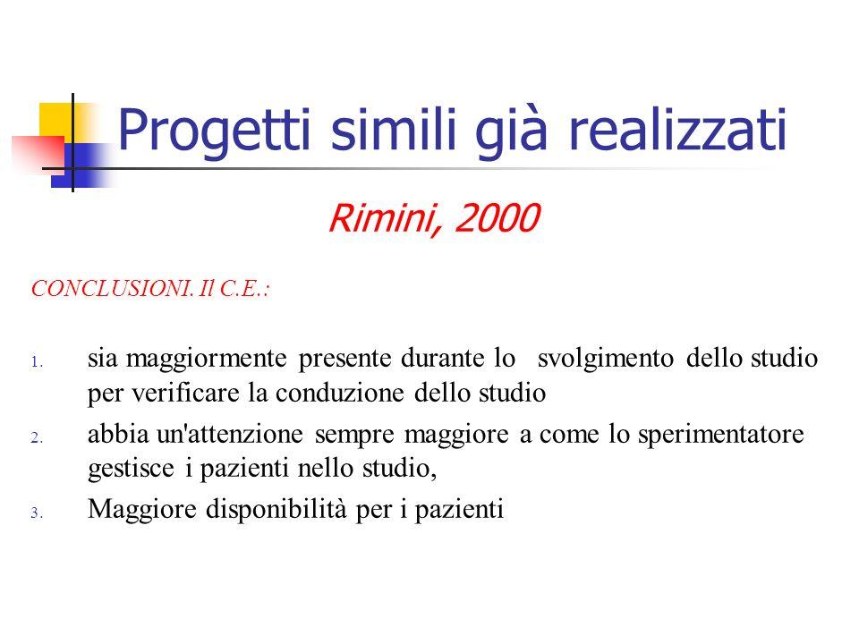 Progetti simili già realizzati Rimini, 2000 CONCLUSIONI. Il C.E.: 1. sia maggiormente presente durante lo svolgimento dello studio per verificare la c