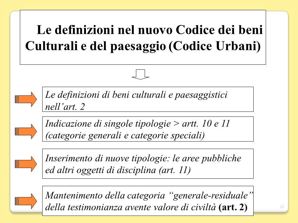 13 Le definizioni nel nuovo Codice dei beni Culturali e del paesaggio (Codice Urbani) Le definizioni di beni culturali e paesaggistici nellart. 2 Inse