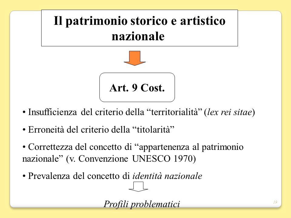 19 Il patrimonio storico e artistico nazionale Art. 9 Cost. Insufficienza del criterio della territorialità (lex rei sitae) Erroneità del criterio del