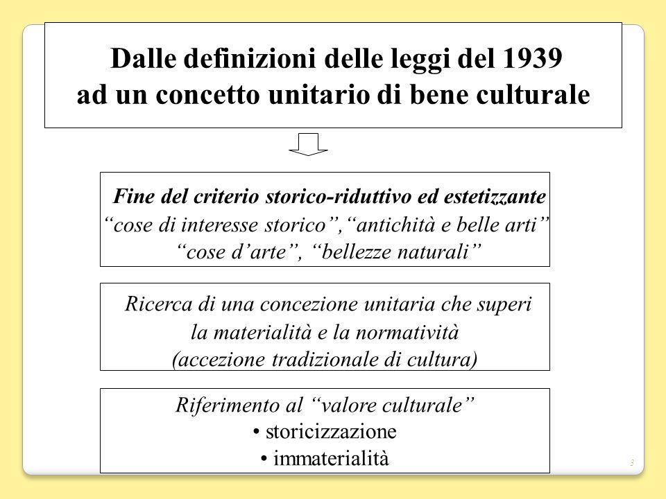 3 Dalle definizioni delle leggi del 1939 ad un concetto unitario di bene culturale Fine del criterio storico-riduttivo ed estetizzante cose di interes